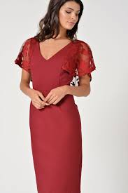 marc angelo naomi lace sleeve midi dress in wine iclothing