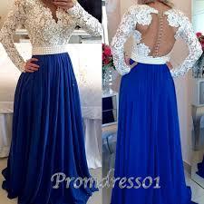 hand made pretty navy blue a line long prom dress modest dress