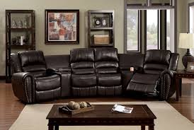 Furniture Of America CM6961 5 Pc Washburn Transitional Style Rustic Brown Leather Like Fabric Theater Sectional Sofa With Recliners And Consoles