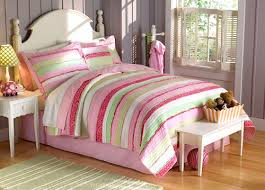 Pink Green Chic Ruffles Girls Bedding Twin Quilt Set Striped