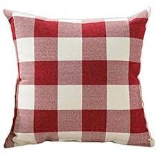 Red White Christmas Buffalo Checkers Plaids Linen Square Throw Pillow Cover Decorative Cushion Shams Pillowcase Love