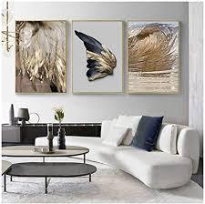 hyfbh moderne wohnzimmer dekoration gold feder abstrakte poster engelsflügel leinwand malerei wandbild wohnkultur 50x70 cm kein rahmen