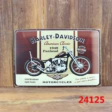 Vintage Metal Tin Sign Harley Motorcycle Pub Home