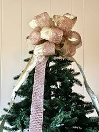 Seashell Christmas Tree by Rose Quartz Bow Tree Topper Glittering Rose Gold Tree Topper Bow