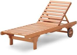 Hazlo Wooden Sun Pool Lounger Beach Chair With Pull Out Tray Solid Wood