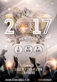New Year 2017 Gold Party Free Flyer Template