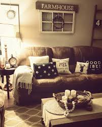 rustic living room farmhouse brown couch cozy home the nest