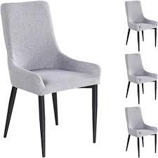 idimex 4er set esszimmerstuhl küchenstuhl stuhlgruppe essstuhl stuhl stoff grau