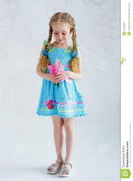 in blue dress with flowers stock image image 31045921