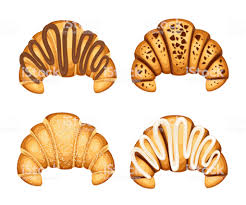 Set Of Croissant With Different Fillings Cream Chocolate And Sesame On Top Vector Illustration Isolated