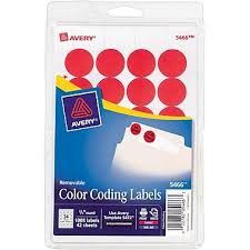 AveryR 3 4 Round Print Write Color Coding Labels Red 1008