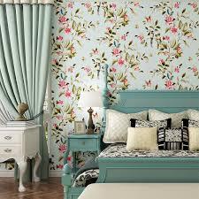 amerikanischen stil schlafzimmer wand abdeckt moderne vintage rosa blumen tapete blau tropical schmetterling vögel blume wand papier
