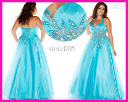 2016 crystal plus size evening gowns sky blue beaded halter lace