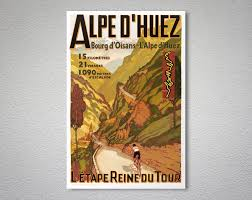 alpes d huez vintage tour de travel poster