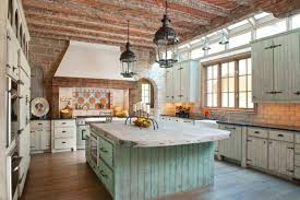 Rustic French Country Kitchen Dark Brown Laminated Wooden Floor Hanging Pendant Lights Black Gloss Cabinets Cape