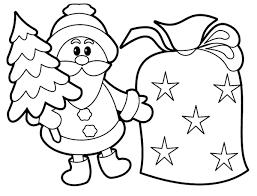 Santa Christmas Tree Colouring Page