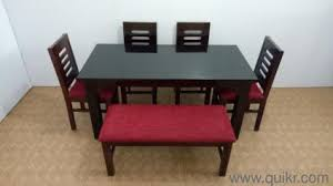 Silvia Assam Teak Wood 4 Seater Dining With Bench 1 Table Chair