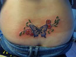 Lowerback Color Flower And Butterfly Tattoo