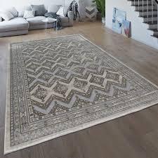 wohnzimmer teppich orientalisch braun beige kurzflor ethno