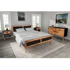 Bedroom Furniture Set With King Size Wooden Bed Frame 6FT Retro