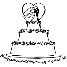 Wedding Cake clipart black and white 4