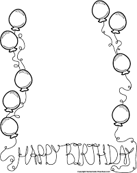 Happy Birthday Balloon Clipart Black And White