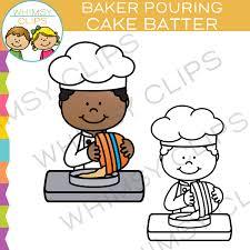 Baker Pouring Cake Batter Into a Pan Clip Art