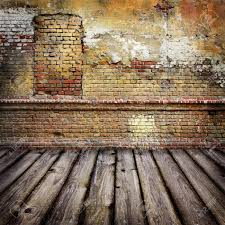 Studio Background With Brick Wall And Timber Floor Stock Photo
