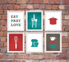 Stunning Red And Deep Turquoise Kitchen Art Print Set Eat Pray Love Utensils By 7
