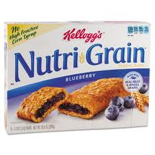 Kelloggs Nutri Grain Cereal Bars Blueberry Indv Wrapped 13oz Bar 16 Box KEB35745