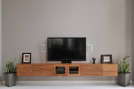 Wood Floating Media Console In Rustic Style With Glass Door Cabinet And Drawers Two Indoor Concrete