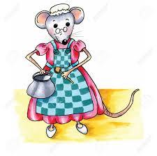 souris cuisine souris mère drôle avec casserole et une cuillère dans la cuisine