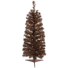 45 Foot Mocha Pencil Artificial Christmas Tree 150 LED M5 Italian Warm White Lights