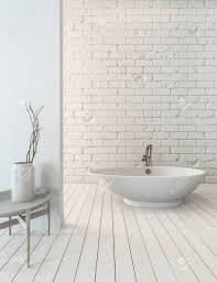 3d rendering der phantasie badewanne auf holzdielenboden neben spülbecken in einfachen luxus badezimmer mit weißen mauer