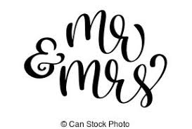 Mr And Mrs Text On White Background Hand Drawn Calligraphy Wedding Lettering Vector Illustration