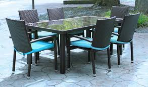 7 Piece Black Resin Wicker Outdoor Furniture Patio Dining Set
