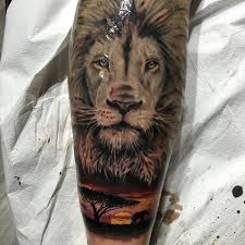 Leg Sleeve Africa Lion Safari Sunset Tattoos For Guys