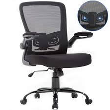 Mid-Back Ergonomic Executive Office Chair,Rolling Swivel Desk Task Mesh  Chair With Arms Adjustable Height Computer Chair For Back Support