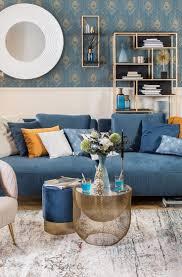 wohnzimmer ideen blau gold