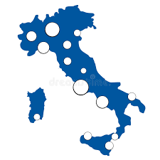 Download Simple Map Of Italy With Largest Cities Stock Vector