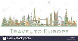 Famous Landmarks In Europe Vector Illustration Business Travel And Tourism Concept Image For Presentation Banner Placard Web Site