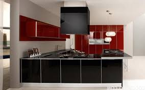 Kitchen Red White And Black Ideas Rectangular Brown Modern Veneer Island Grey Soft Marble Flooring Built In Oven Sink Stainless Steel