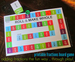 Roll And Make Whole Adding Fractions Board Game