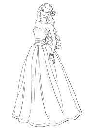 Barbie Doll Princess Coloring Pages Wearing A Party Dress