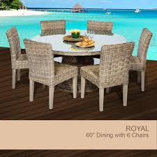 TKC Royal Vintage Stone 60 Outdoor Patio Dining Table With 6 Chairs