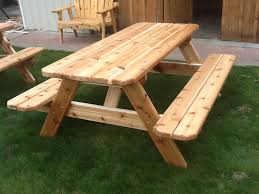picnic table with attached benches outdoorlivingdecor