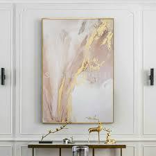 bemalt abstrakten gold und rosa farbe öl gemälde moderne leinwand malerei wand malerei für wohnzimmer dekoration