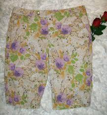 rafaella size 14 beige black floral print capri pants z22l