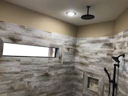 wood tile shower bathroom rustic with distressed