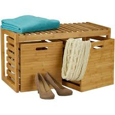 sitzbank mit stauraum bambus 2 aufbewahrungsboxen bank für flur bad garderobe hbt 44 5x80x40 cm natur